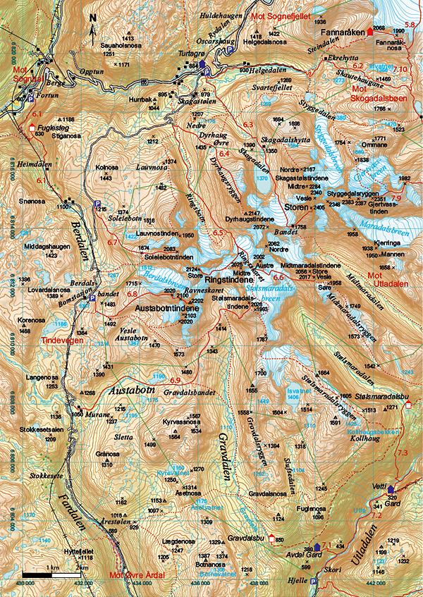 sognefjellet kart Fotturer i Jotunheimen sognefjellet kart